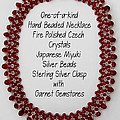 Red Light-cranberry Beaded Necklace by Jennie Breeze