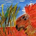 Red Lion In Tall Yellow Grass by Mary Carol Williams