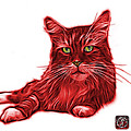 Red Maine Coon Cat - 3926 - Wb by James Ahn