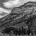 Red Mountain Cliffs In Black And White by Karen Stephenson