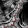 Red On Black And White Fractal Abstract by Imagery by Charly