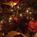 Red Ornament And Gold Ribbon by Paulette B Wright