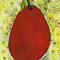 Red Pear Circle Pattern Art by Blenda Studio