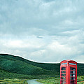 Red Phone Box On Rural Road by Jill Battaglia