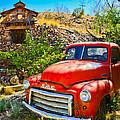 Red Pickup Truck At Santa Fe by Jeff Black