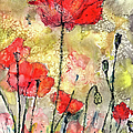 Red Poppies Botanical Watercolor And Ink by Ginette Callaway