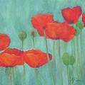 Red Poppies Colorful Poppy Flowers Original Art Floral Garden  by K Joann Russell