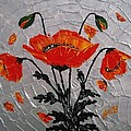 Red Poppies Original Palette Knife by Georgeta  Blanaru