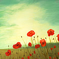Red Poppy Field With Green Sky by Cecilia Brendel