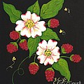 Red Raspberries And Dogwood Flowers by Barbara Griffin