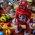 Red Robot And Marbles by Garry Gay
