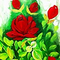 Red Roses From The Garden Impression by Saundra Myles