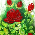 Red Roses From The Garden by Saundra Myles
