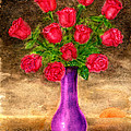 Red Roses In A Purple Vase by Frank Hunter