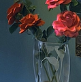 Red Roses In A Vase by Liane Wright