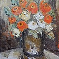 Red Roses In A Vase by Maria Karalyos