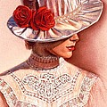 Red Roses Satin Hat by Sue Halstenberg