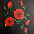 Red Roses Weeping by Cynthia Adams