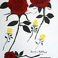 Red Roses Yellow Buds by Beverly J Raffaele