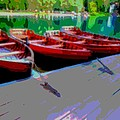 Red Rowboats Dock Lake Enhanced Iv by L Brown