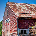 Red Rustic Weathered Barn by Laura Duhaime