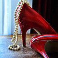 Red Shoes And Pearls by Jill Battaglia