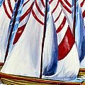 Red Stripe Sails by Patricia L Davidson
