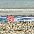 Red Striped Umbrella At The Beach by SC Heffner
