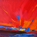 Red Sunset, Modern Abstract Art by Patricia Awapara