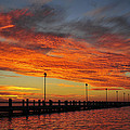 Red Sunset Pier Seaside Nj by Terry DeLuco