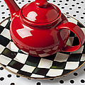 Red Teapot On Checkerboard Plate by Garry Gay