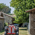 Red Tractor On A French Farm by Georgia Fowler