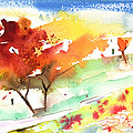 Red Trees On Planet Goodaboom by Miki De Goodaboom
