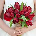 Red Tulip Wedding Bouquet by Lee Avison
