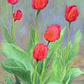 Red Tulips Colorful Painting Of Flowers By K. Joann Russell by K Joann Russell