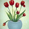 Red Tulips In A Pot by Barbara Griffin