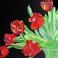 Red Tulips In Vase by Linda Feinberg