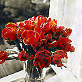 Red Tulips In Window by Linda  Parker
