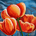 Red Tulips On Blue by Tim Gilliland