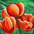 Red Tulips On Green by Tim Gilliland
