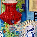 Red Vase And Cup by Nancy Milano