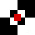 Red White And Black 1 Square by Andee Design