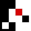 Red White And Black 5 Square by Andee Design
