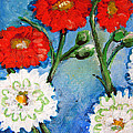 Red White And Blue Flowers by Ashleigh Dyan Bayer