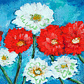 Red White And Blue Zinnia Flowers by Ashleigh Dyan Bayer