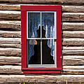 Red Window Log Cabin - Idaho by Gary Whitton