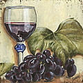 red wine and grape leaf by Debbie DeWitt