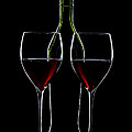 Red Wine Bottle And Wineglasses Silhouette by Alex Sukonkin