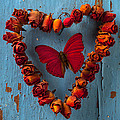 Red Wing Butterfly In Heart by Garry Gay