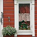Red Wooden House With Plants In And By by Chris Parker